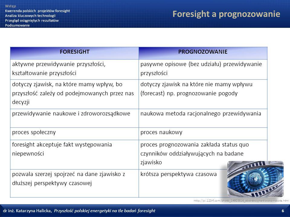 dr inż. Katarzyna Halicka, Przyszłość polskiej energetyki na tle badań foresight 6 Foresight a prognozowanie FORESIGHTPROGNOZOWANIE aktywne przewidywa