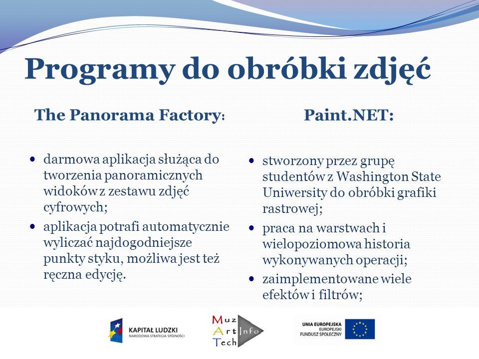 Programy do obróbki zdjęć The Panorama Factory : Paint.NET: darmowa aplikacja służąca do tworzenia panoramicznych widoków z zestawu zdjęć cyfrowych; a