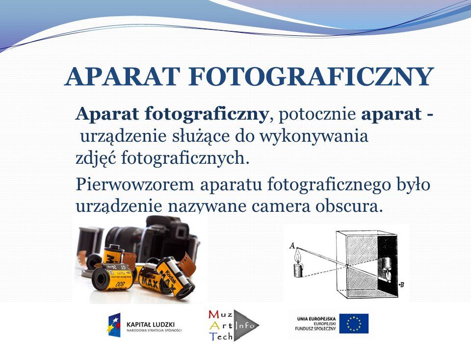 APARAT FOTOGRAFICZNY Aparat fotograficzny, potocznie aparat - urządzenie służące do wykonywania zdjęć fotograficznych. Pierwowzorem aparatu fotografic