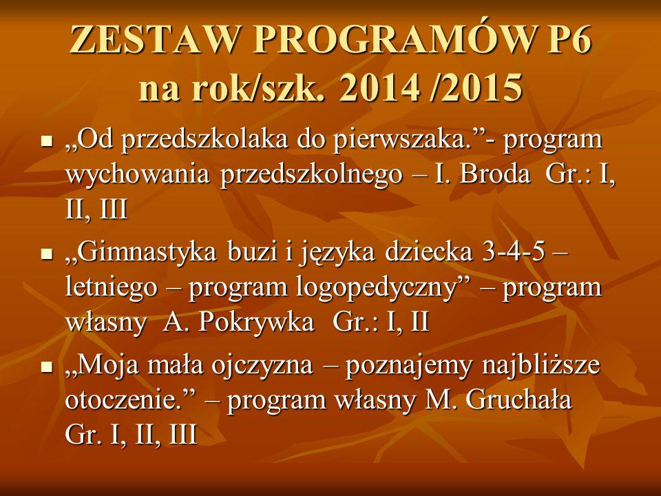 """ZESTAW PROGRAMÓW P6 na rok/szk. 2014 /2015 """"Od przedszkolaka do pierwszaka.""""- program wychowania przedszkolnego – I. Broda Gr.: I, II, III """"Od przedsz"""