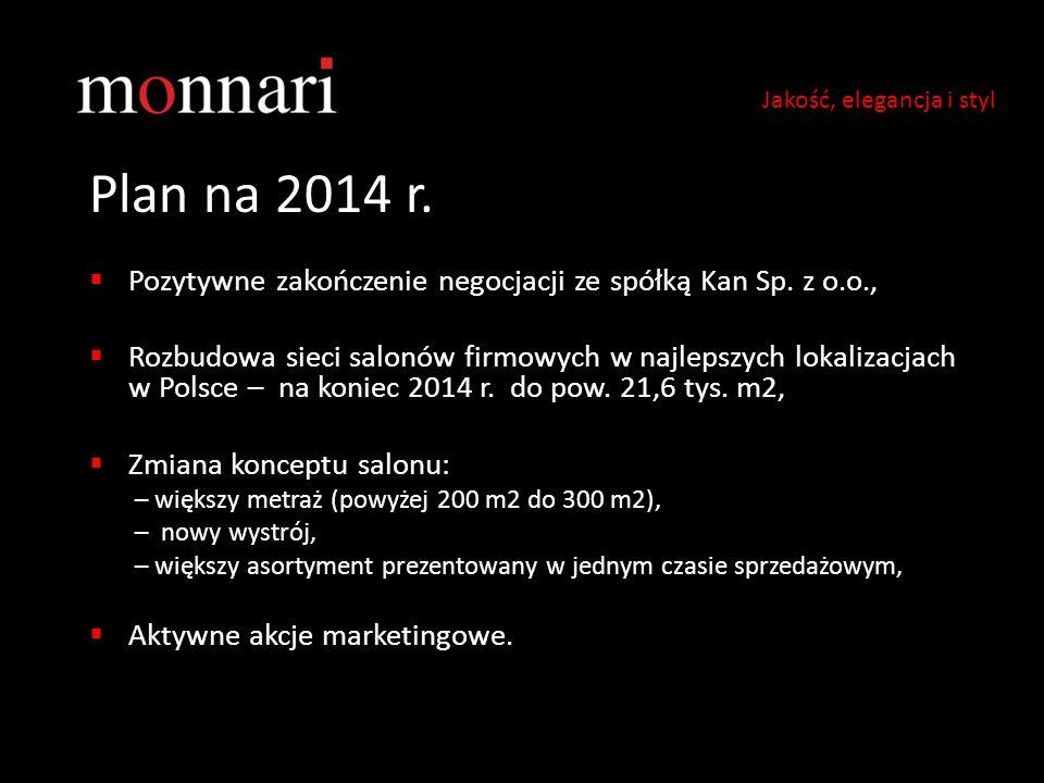 Plan na 2014 r.  Pozytywne zakończenie negocjacji ze spółką Kan Sp. z o.o.,  Rozbudowa sieci salonów firmowych w najlepszych lokalizacjach w Polsce