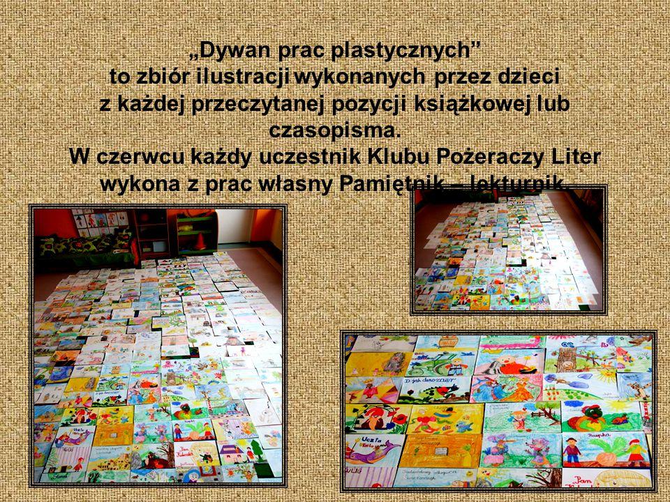 """""""Dywan prac plastycznych to zbiór ilustracji wykonanych przez dzieci z każdej przeczytanej pozycji książkowej lub czasopisma."""