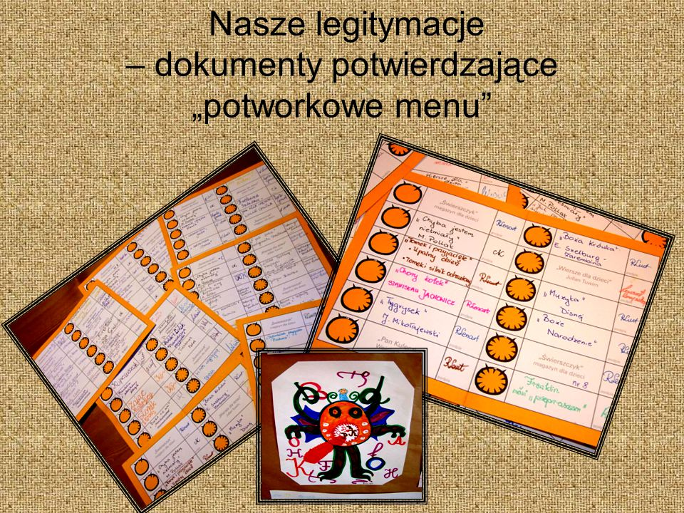 """Nasze legitymacje – dokumenty potwierdzające """"potworkowe menu"""