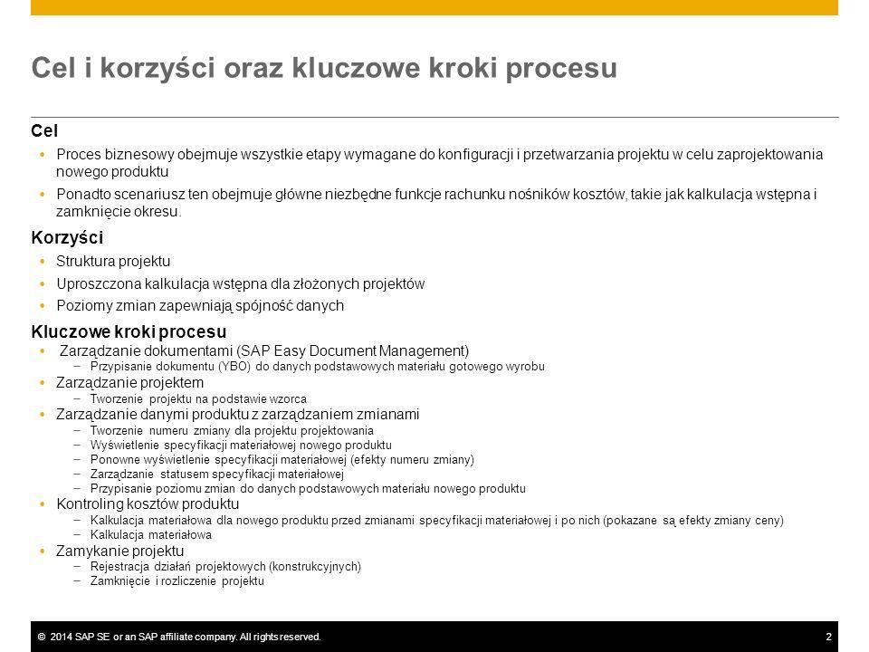 ©2014 SAP SE or an SAP affiliate company. All rights reserved.2 Cel i korzyści oraz kluczowe kroki procesu Cel  Proces biznesowy obejmuje wszystkie e