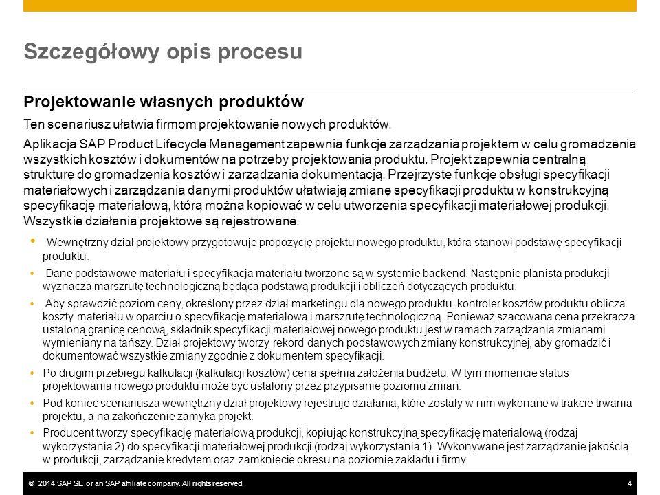 ©2014 SAP SE or an SAP affiliate company. All rights reserved.4 Szczegółowy opis procesu Projektowanie własnych produktów Ten scenariusz ułatwia firmo