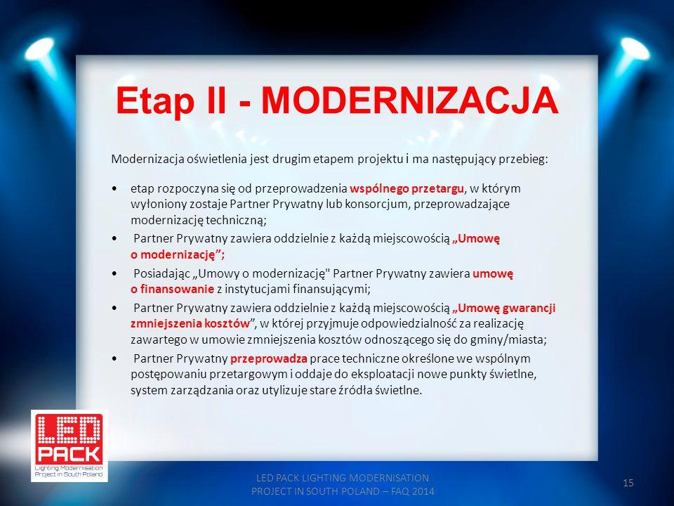 15 Etap II - MODERNIZACJA LED PACK LIGHTING MODERNISATION PROJECT IN SOUTH POLAND – FAQ 2014 Modernizacja oświetlenia jest drugim etapem projektu i ma