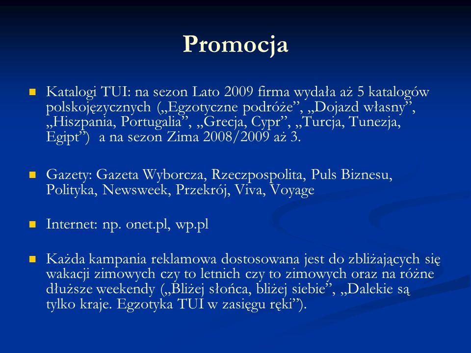 """Promocja Katalogi TUI: na sezon Lato 2009 firma wydała aż 5 katalogów polskojęzycznych (""""Egzotyczne podróże"""", """"Dojazd własny"""", """"Hiszpania, Portugalia"""""""