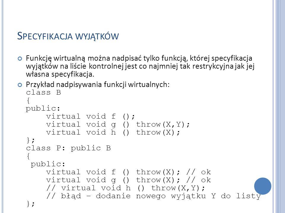 S PECYFIKACJA WYJĄTKÓW Funkcję wirtualną można nadpisać tylko funkcją, której specyfikacja wyjątków na liście kontrolnej jest co najmniej tak restrykcyjna jak jej własna specyfikacja.