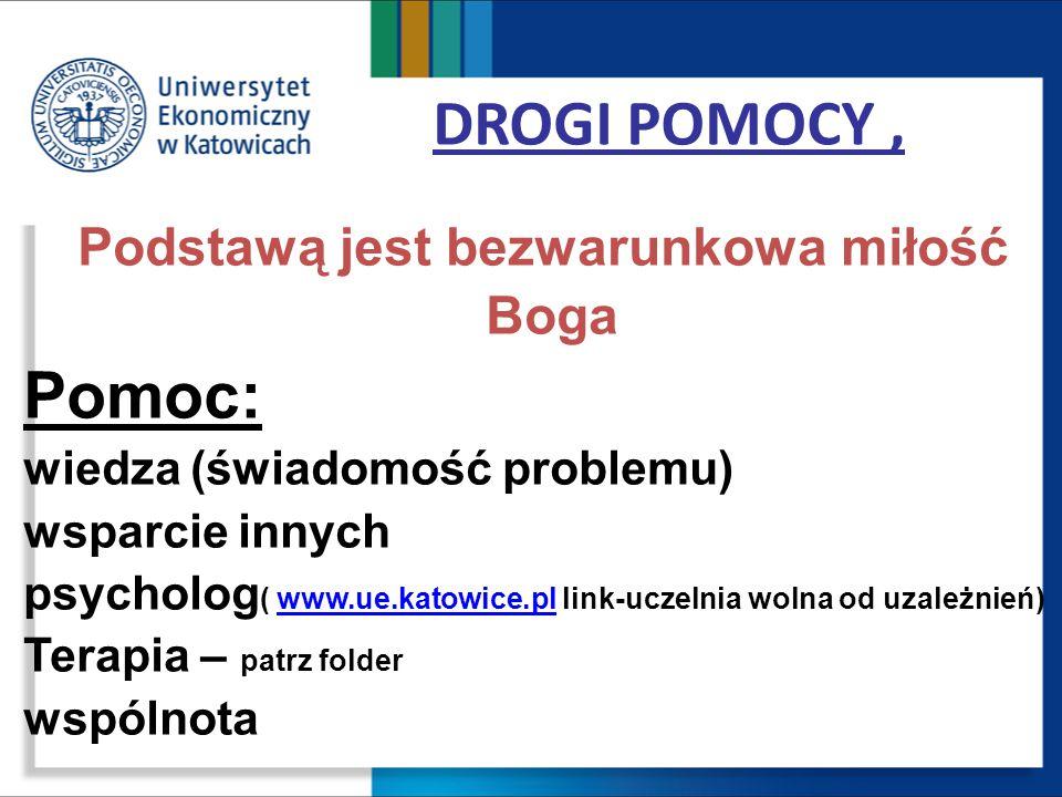 DROGI POMOCY, Podstawą jest bezwarunkowa miłość Boga Pomoc: wiedza (świadomość problemu) wsparcie innych psycholog ( www.ue.katowice.pl link-uczelnia