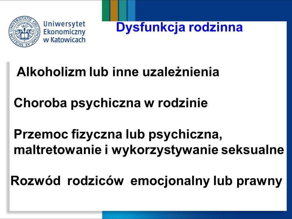 Dysfunkcja rodzinna Alkoholizm lub inne uzależnienia Choroba psychiczna w rodzinie Przemoc fizyczna lub psychiczna, maltretowanie i wykorzystywanie se