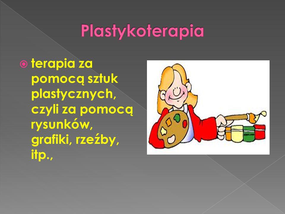  terapia za pomocą sztuk plastycznych, czyli za pomocą rysunków, grafiki, rzeźby, itp.,