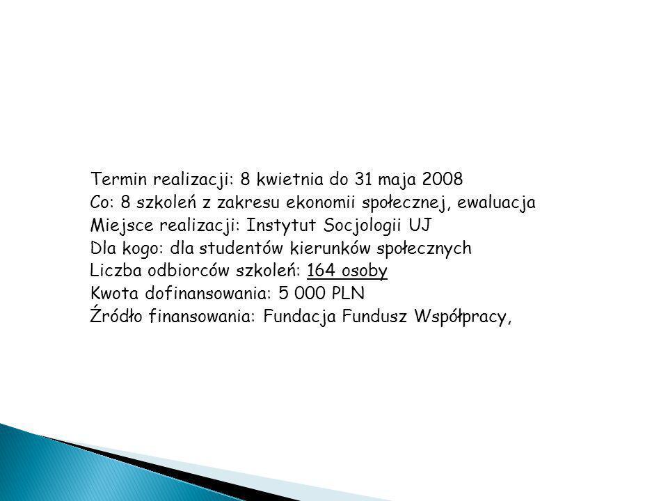 """Granty – wzorcowy: """"Przez edukację do akceptacji"""" Termin realizacji: 8 kwietnia do 31 maja 2008 Co: 8 szkoleń z zakresu ekonomii społecznej, ewaluacja"""