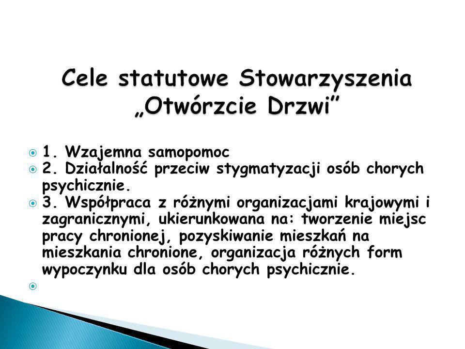  1. Wzajemna samopomoc  2. Działalność przeciw stygmatyzacji osób chorych psychicznie.  3. Współpraca z różnymi organizacjami krajowymi i zagranicz