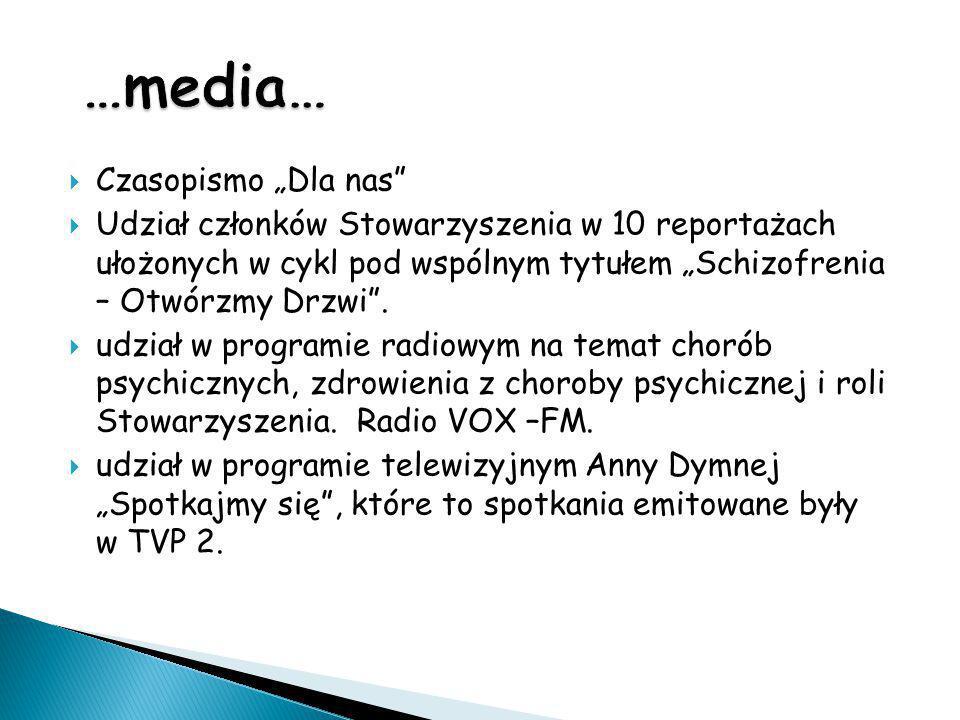 """ Czasopismo """"Dla nas""""  Udział członków Stowarzyszenia w 10 reportażach ułożonych w cykl pod wspólnym tytułem """"Schizofrenia – Otwórzmy Drzwi"""".  udzi"""