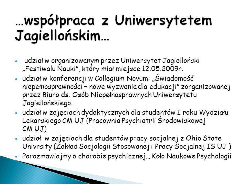 """udział w organizowanym przez Uniwersytet Jagielloński """"Festiwalu Nauki"""", który miał miejsce 12.05.2009r. udział w konferencji w Collegium Novum: """"Świa"""