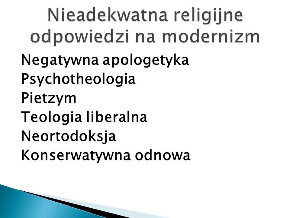 Negatywna apologetyka Psychotheologia Pietzym Teologia liberalna Neortodoksja Konserwatywna odnowa