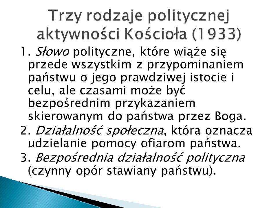 1. Słowo polityczne, które wiąże się przede wszystkim z przypominaniem państwu o jego prawdziwej istocie i celu, ale czasami może być bezpośrednim prz