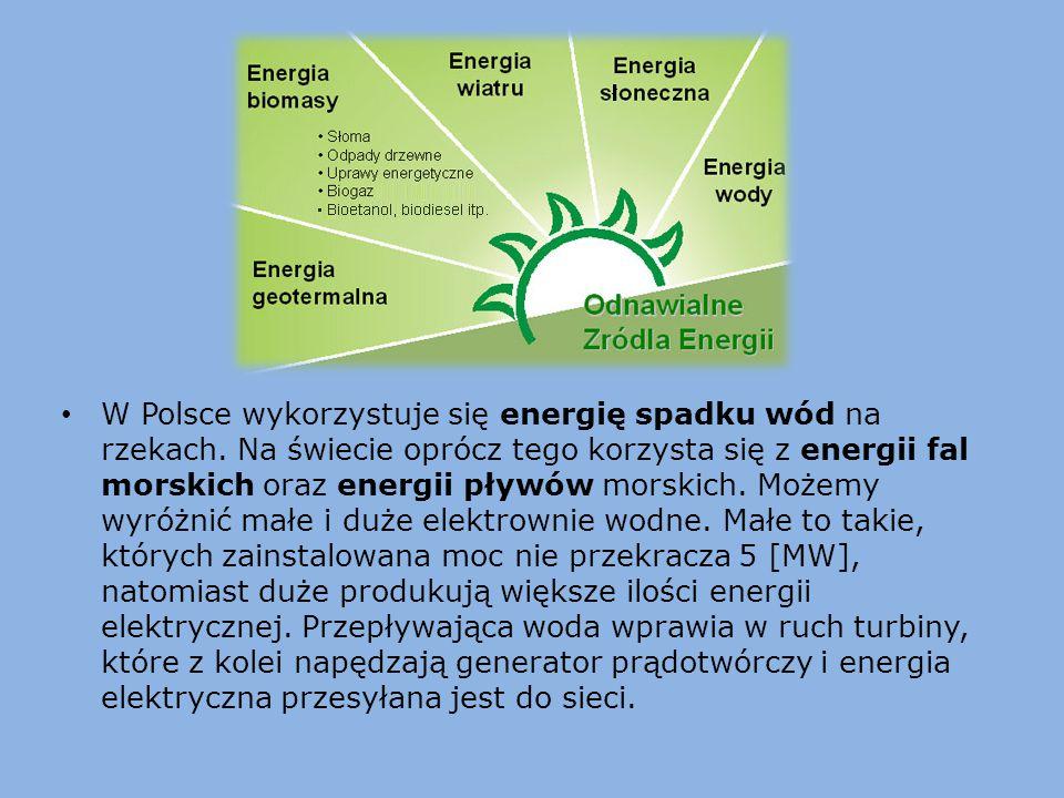 W Polsce wykorzystuje się energię spadku wód na rzekach. Na świecie oprócz tego korzysta się z energii fal morskich oraz energii pływów morskich. Może
