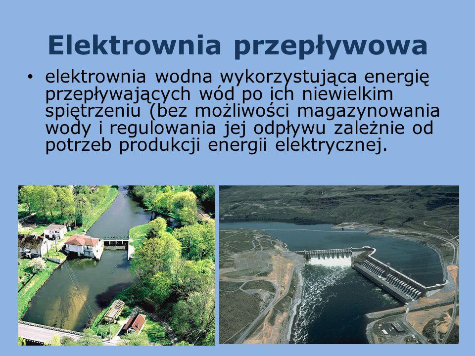 Elektrownia przepływowa elektrownia wodna wykorzystująca energię przepływających wód po ich niewielkim spiętrzeniu (bez możliwości magazynowania wody