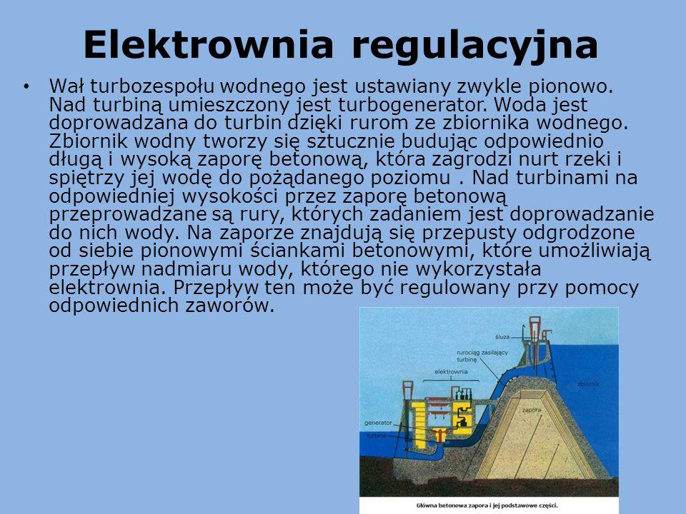 Elektrownia regulacyjna Wał turbozespołu wodnego jest ustawiany zwykle pionowo. Nad turbiną umieszczony jest turbogenerator. Woda jest doprowadzana do