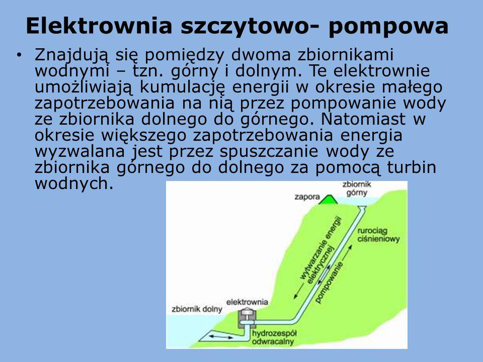 Elektrownia szczytowo- pompowa Znajdują się pomiędzy dwoma zbiornikami wodnymi – tzn. górny i dolnym. Te elektrownie umożliwiają kumulację energii w o