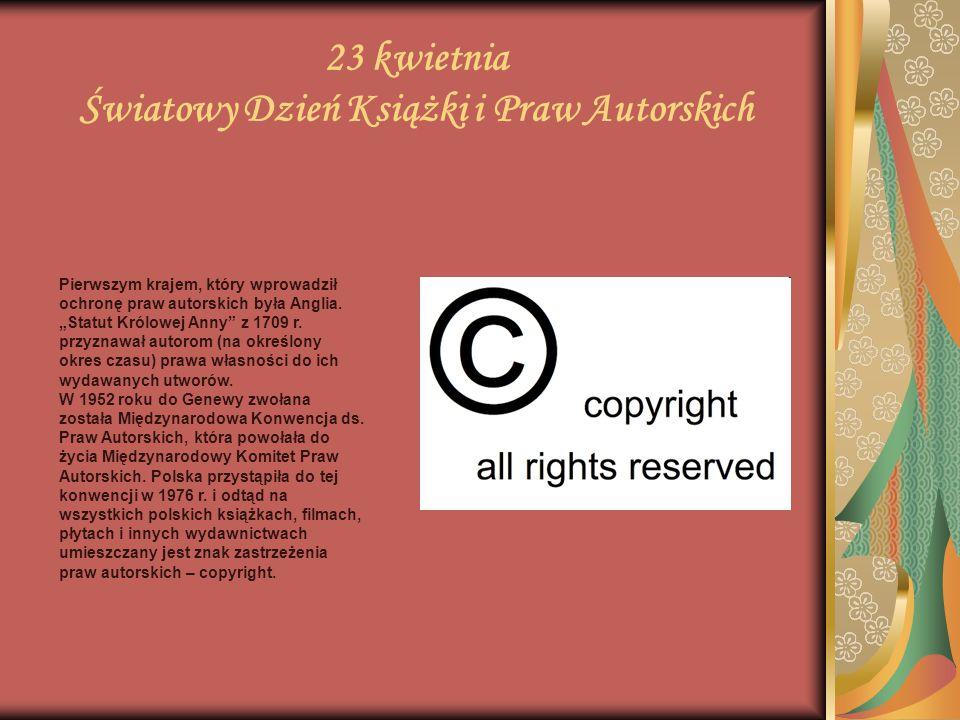 23 kwietnia Światowy Dzień Książki i Praw Autorskich Owe 10 milionów dolarów nie jest jednak rekordową ceną, gdyż ręcznie produkowane manuksrypty osiągają jeszcze wyższe kwoty.