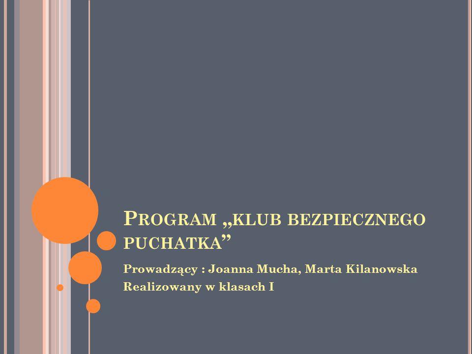 """P ROGRAM """" KLUB BEZPIECZNEGO PUCHATKA Prowadzący : Joanna Mucha, Marta Kilanowska Realizowany w klasach I"""