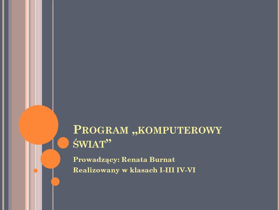 """P ROGRAM """" KOMPUTEROWY ŚWIAT Prowadzący: Renata Burnat Realizowany w klasach I-III IV-VI"""