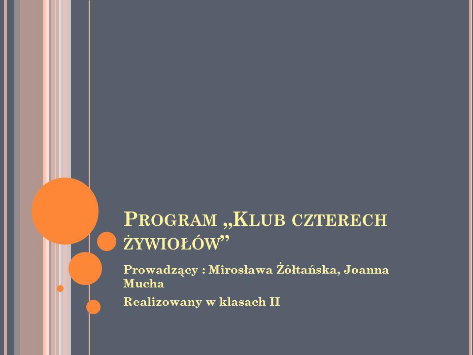 """P ROGRAM """"K LUB CZTERECH ŻYWIOŁÓW Prowadzący : Mirosława Żółtańska, Joanna Mucha Realizowany w klasach II"""