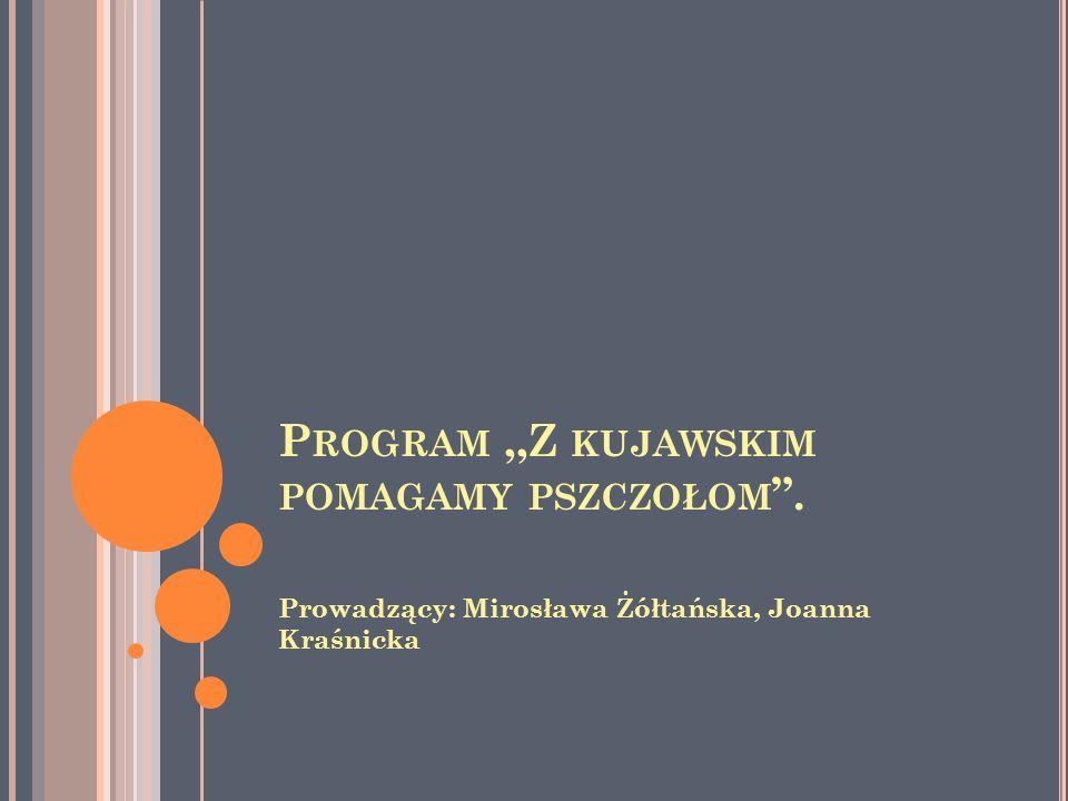 P ROGRAM,,Z KUJAWSKIM POMAGAMY PSZCZOŁOM . Prowadzący: Mirosława Żółtańska, Joanna Kraśnicka
