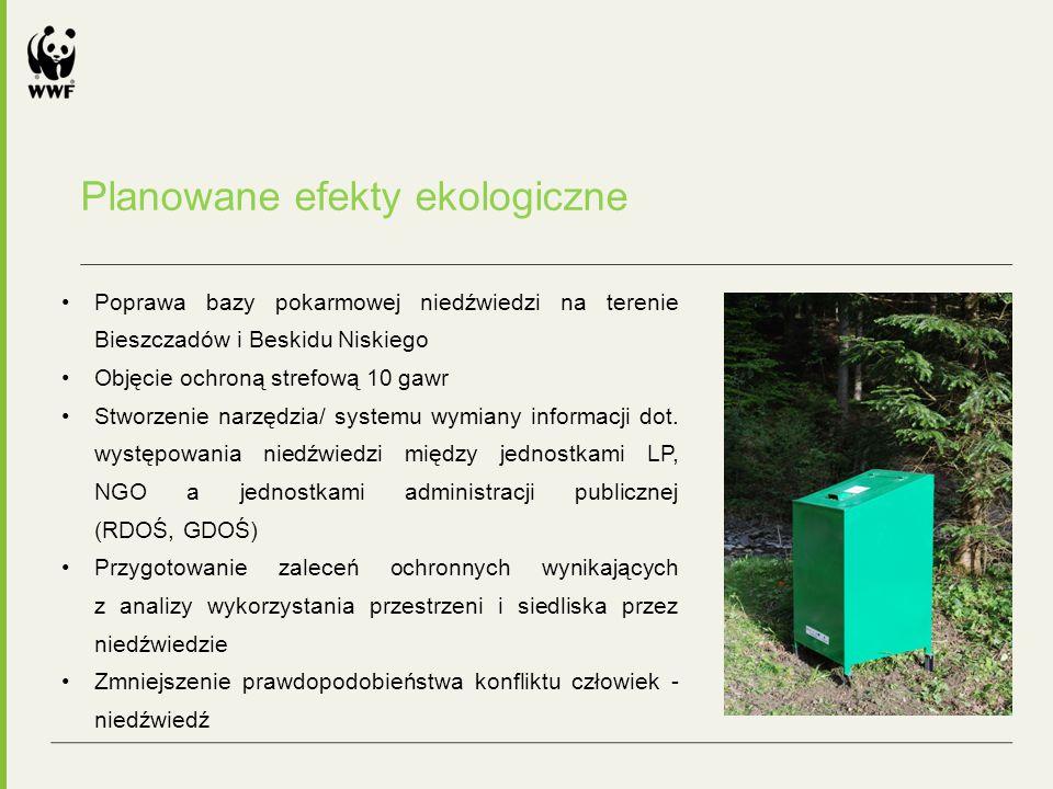 Planowane efekty ekologiczne Poprawa bazy pokarmowej niedźwiedzi na terenie Bieszczadów i Beskidu Niskiego Objęcie ochroną strefową 10 gawr Stworzenie narzędzia/ systemu wymiany informacji dot.