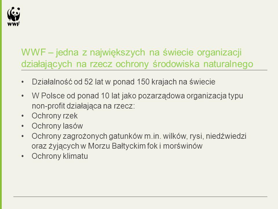 WWF – jedna z największych na świecie organizacji działających na rzecz ochrony środowiska naturalnego Działalność od 52 lat w ponad 150 krajach na świecie W Polsce od ponad 10 lat jako pozarządowa organizacja typu non-profit działająca na rzecz: Ochrony rzek Ochrony lasów Ochrony zagrożonych gatunków m.in.