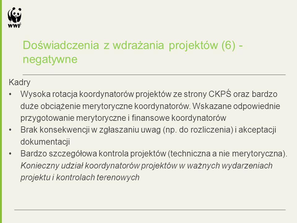 Kadry Wysoka rotacja koordynatorów projektów ze strony CKPŚ oraz bardzo duże obciążenie merytoryczne koordynatorów.