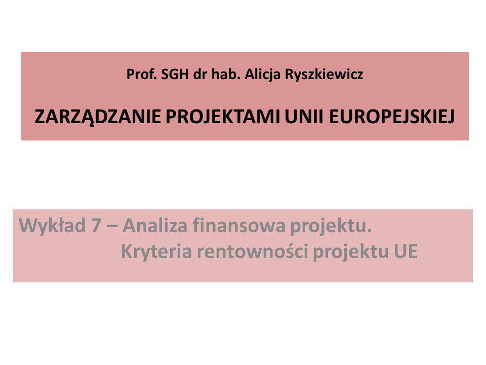 Prof. SGH dr hab. Alicja Ryszkiewicz ZARZĄDZANIE PROJEKTAMI UNII EUROPEJSKIEJ Wykład 7 – Analiza finansowa projektu. Kryteria rentowności projektu UE