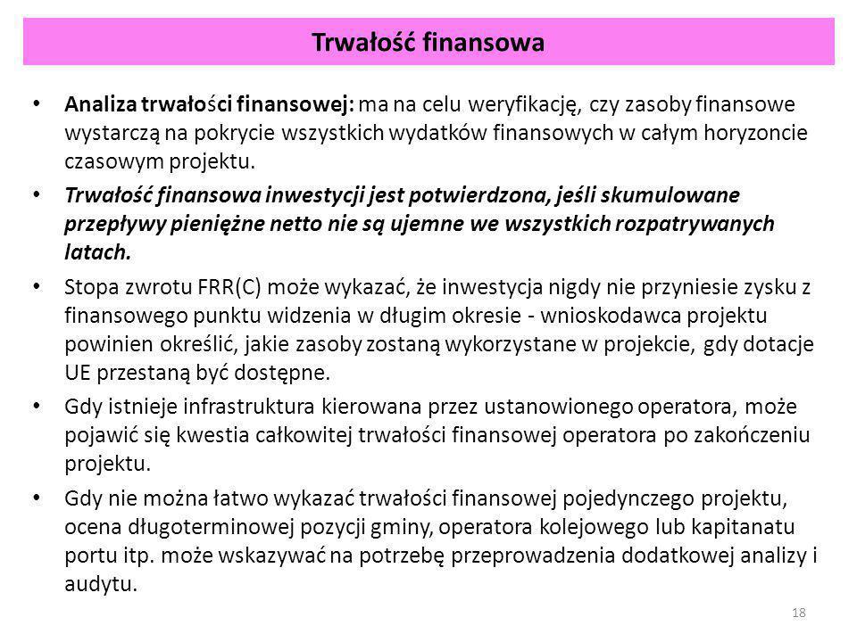 Trwałość finansowa Analiza trwałości finansowej: ma na celu weryfikację, czy zasoby finansowe wystarczą na pokrycie wszystkich wydatków finansowych w całym horyzoncie czasowym projektu.