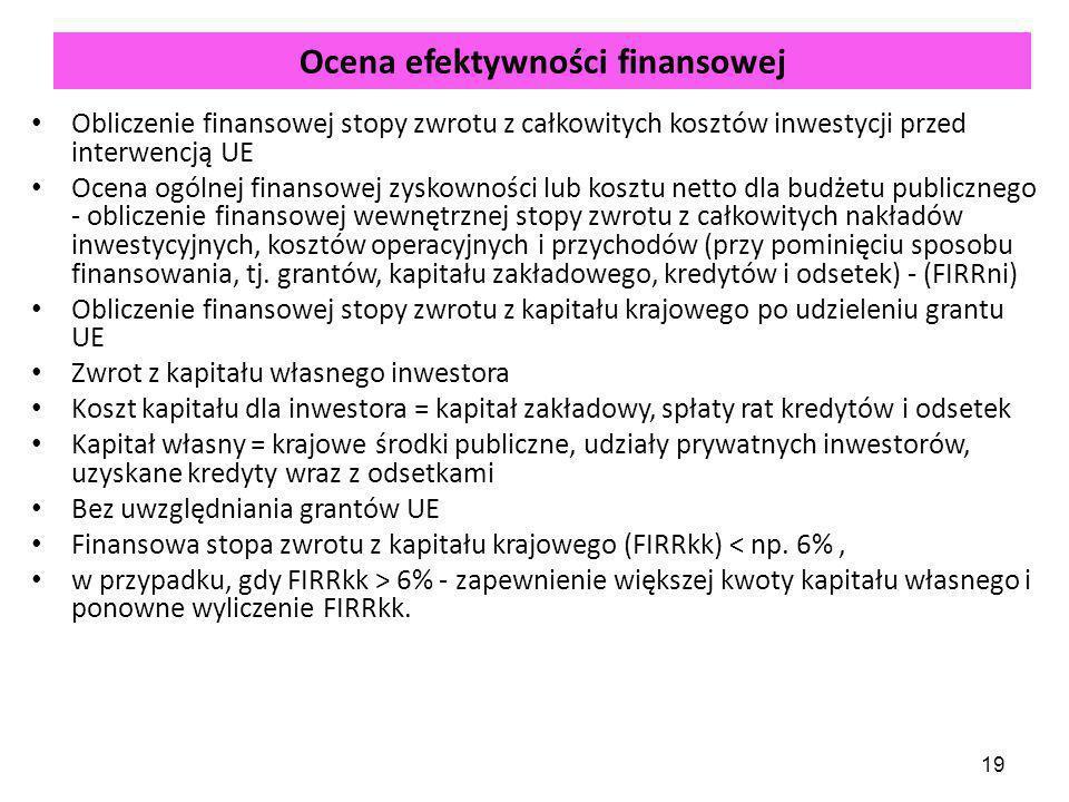 19 Ocena efektywności finansowej Obliczenie finansowej stopy zwrotu z całkowitych kosztów inwestycji przed interwencją UE Ocena ogólnej finansowej zyskowności lub kosztu netto dla budżetu publicznego - obliczenie finansowej wewnętrznej stopy zwrotu z całkowitych nakładów inwestycyjnych, kosztów operacyjnych i przychodów (przy pominięciu sposobu finansowania, tj.