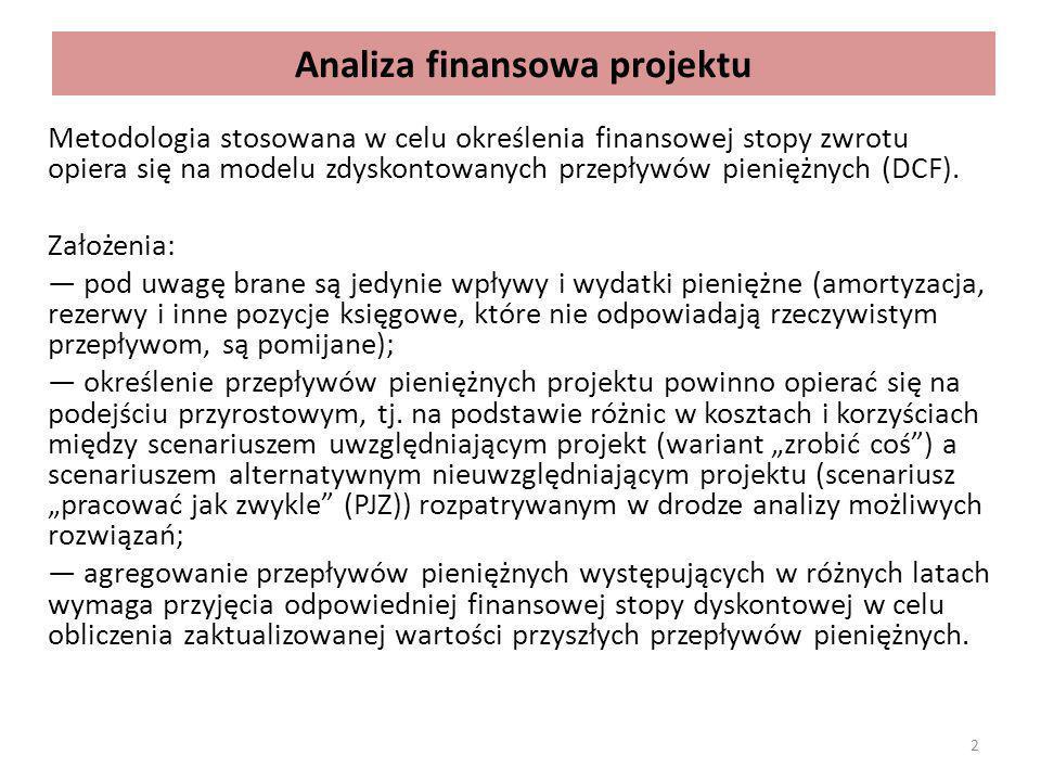 """ANALIZA FINANSOWA PROJEKTU KOMERCYJNEGO Analiza finansowa obejmuje: identyfikacja i oszacowanie przepływów pieniężnych, dóbr i usług wynikających z działalności jednostki w sytuacji """"z i """"bez projektu , oszacowanie zapotrzebowania na kredyty i pożyczki w sytuacji """"z projektem , ocena wpływu projektu na sytuację finansową podmiotu, w tym na wypłacalność (ang."""