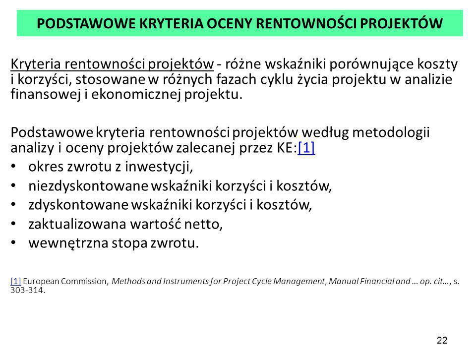 22 PODSTAWOWE KRYTERIA OCENY RENTOWNOŚCI PROJEKTÓW Kryteria rentowności projektów - różne wskaźniki porównujące koszty i korzyści, stosowane w różnych fazach cyklu życia projektu w analizie finansowej i ekonomicznej projektu.