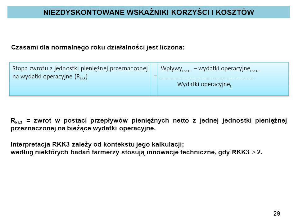29 Czasami dla normalnego roku działalności jest liczona: R kk3 = zwrot w postaci przepływów pieniężnych netto z jednej jednostki pieniężnej przeznacz