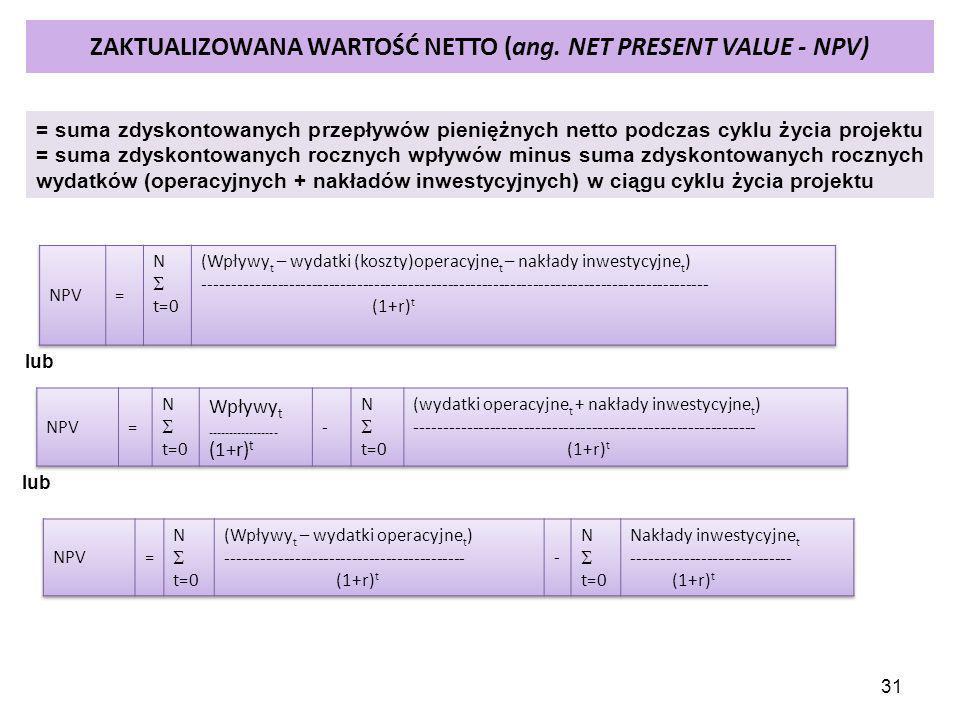 31 ZAKTUALIZOWANA WARTOŚĆ NETTO (ang. NET PRESENT VALUE - NPV) = suma zdyskontowanych przepływów pieniężnych netto podczas cyklu życia projektu = suma