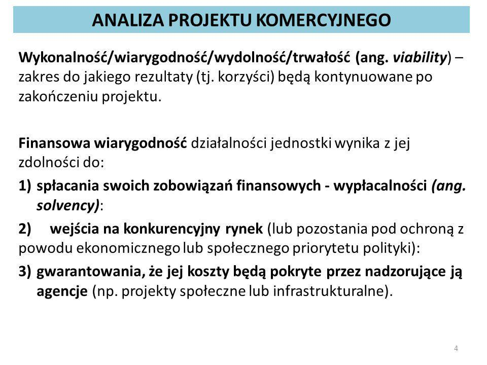 PODSTAWOWE NARZĘDZIA ANALIZY FINANSOWEJ PROJEKTU rachunek przepływów pieniężnych  analiza przepływów pieniężnych - koncentruje się na wpływach i wydatkach pieniężnych jednostki w ciągu badanego okresu, nie rejestruje przepływów rzeczowych; rachunek wszystkich przepływów (pieniężnych i niepieniężnych)  analiza przepływów pieniężnych i niepieniężnych; rachunek działalności produkcyjnej (rachunek zysków i strat)  analiza działalności operacyjnej; harmonogram uruchomienia własnych i obcych środków finansowych, w tym środków pomocowych UE.