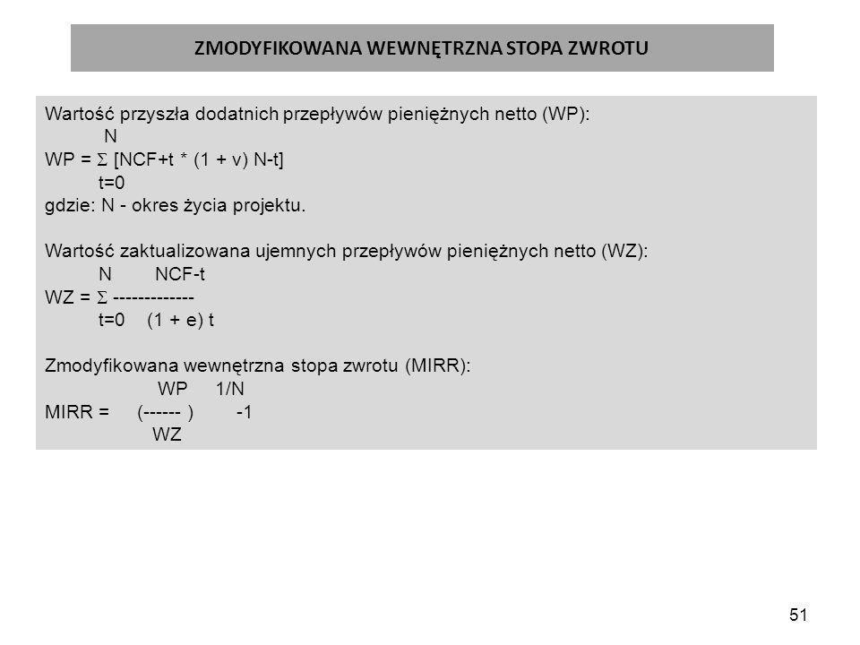 51 ZMODYFIKOWANA WEWNĘTRZNA STOPA ZWROTU Wartość przyszła dodatnich przepływów pieniężnych netto (WP): N WP =  [NCF+t * (1 + v) N-t] t=0 gdzie: N - okres życia projektu.