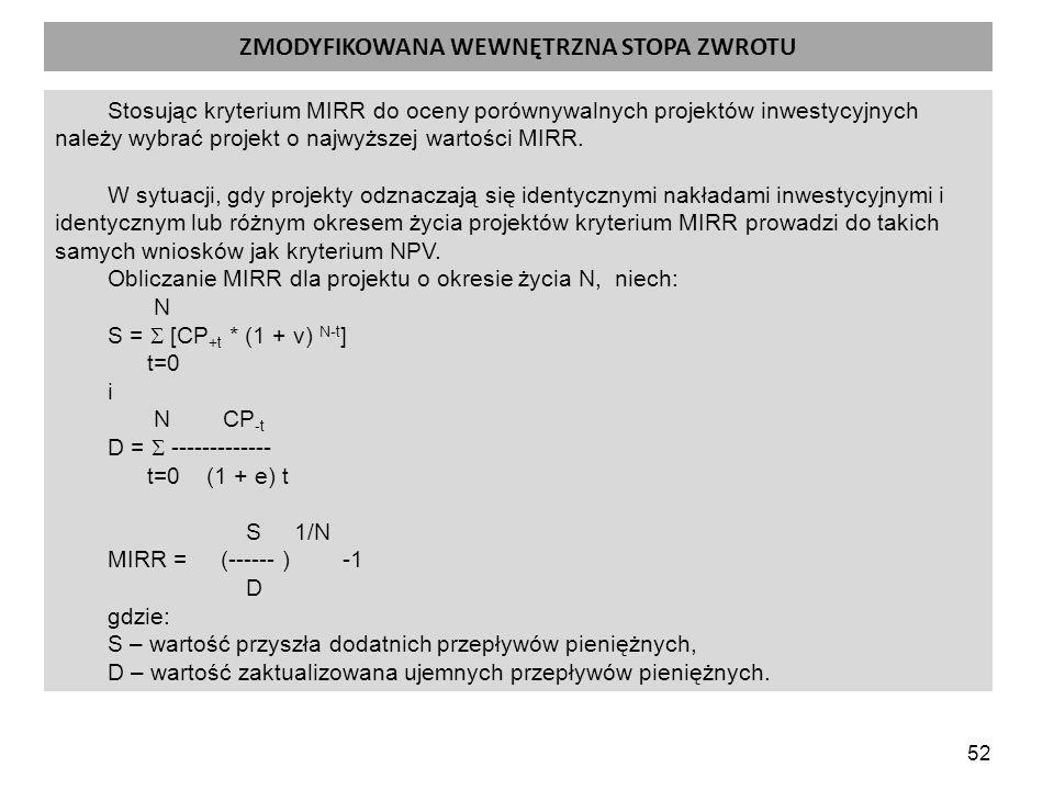 52 ZMODYFIKOWANA WEWNĘTRZNA STOPA ZWROTU Stosując kryterium MIRR do oceny porównywalnych projektów inwestycyjnych należy wybrać projekt o najwyższej wartości MIRR.