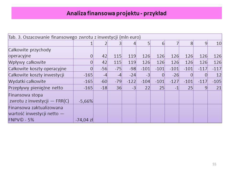 Analiza finansowa projektu - przykład 55