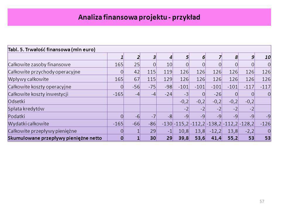 Analiza finansowa projektu - przykład 57