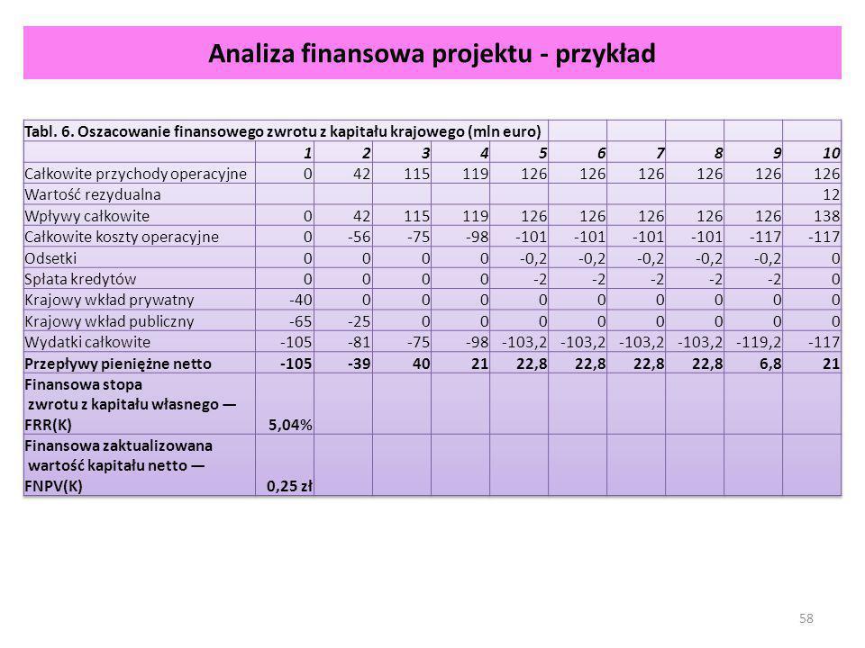 Analiza finansowa projektu - przykład 58