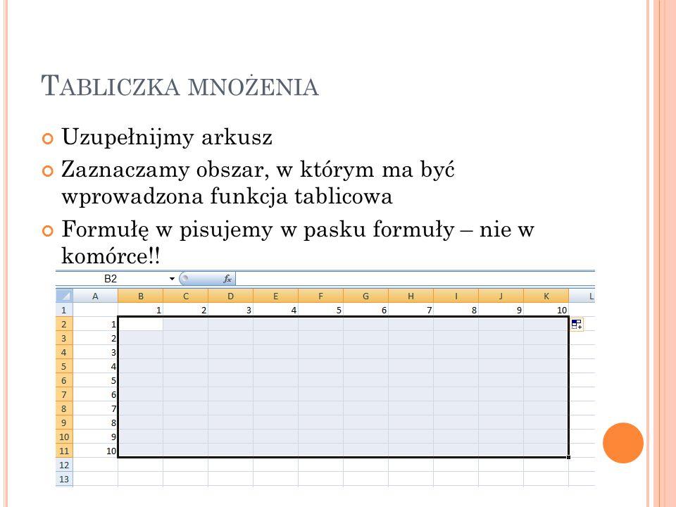 T ABLICZKA MNOŻENIA Uzupełnijmy arkusz Zaznaczamy obszar, w którym ma być wprowadzona funkcja tablicowa Formułę w pisujemy w pasku formuły – nie w kom