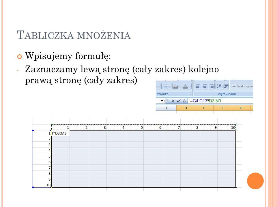 T ABLICZKA MNOŻENIA Wpisujemy formułę: - Zaznaczamy lewą stronę (cały zakres) kolejno prawą stronę (cały zakres)