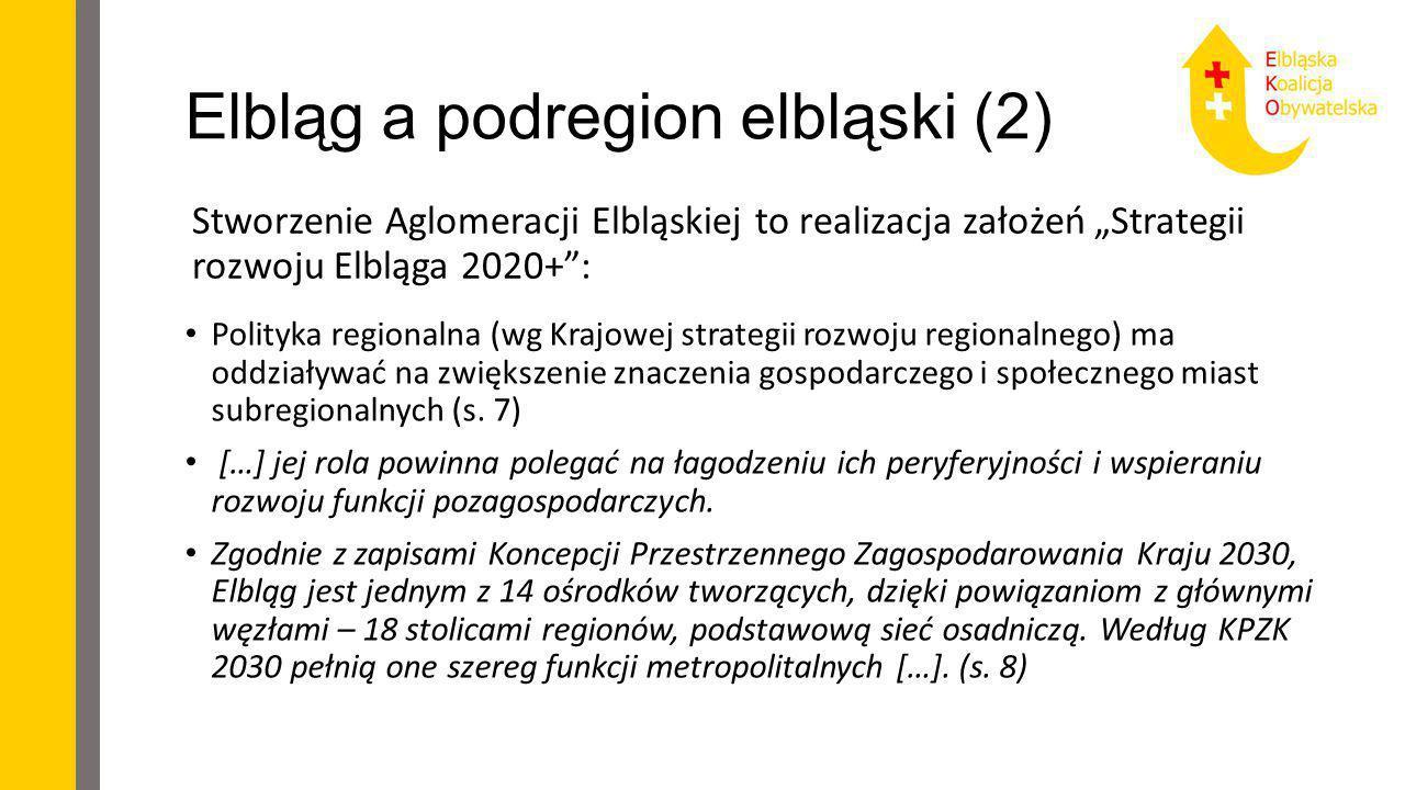 """Elbląg a podregion elbląski (2) Stworzenie Aglomeracji Elbląskiej to realizacja założeń """"Strategii rozwoju Elbląga 2020+"""": Polityka regionalna (wg Kra"""
