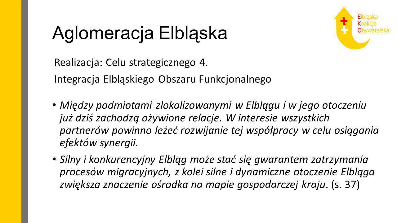 Aglomeracja Elbląska Realizacja: Celu strategicznego 4. Integracja Elbląskiego Obszaru Funkcjonalnego Między podmiotami zlokalizowanymi w Elblągu i w